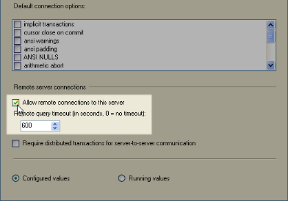 check allow remote connection