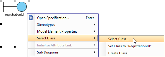 open select class window
