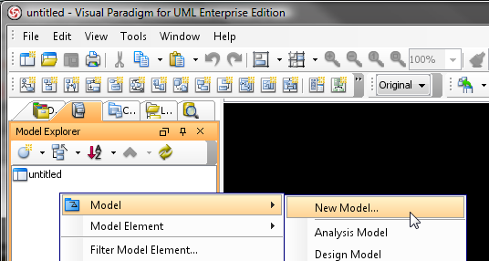 Create entity model in Model Explorer