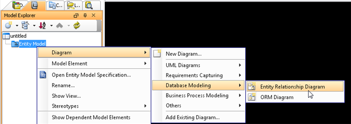 Create entity relationship diagram under 'Entity Model'