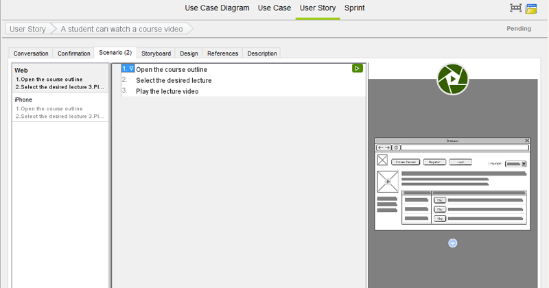Link scenario step to wireframe