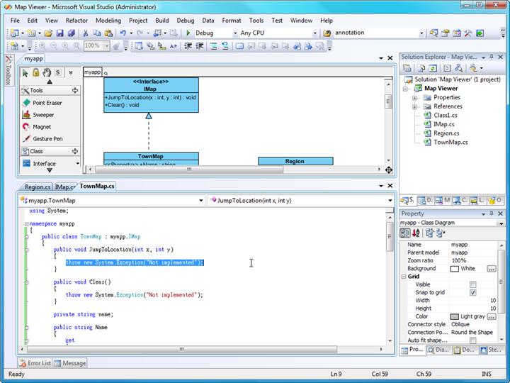 Generate C# source from UML class diagram in Visual Studio