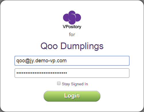 Enter VPository login details