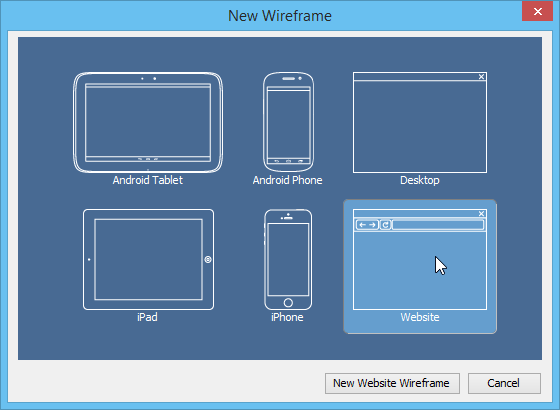 Select wireframe type
