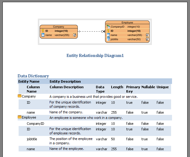 Keep Data Dictionary In Sync With Entity Relationship Diagram